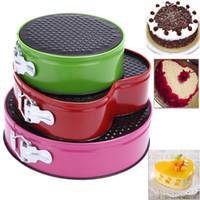 bakery - Three Springform Pans Cake Bake Mould Mold Bakeware with Removable Bottom Round Shape Bakery Cooking Kitchen Tools Set H13954