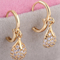 crystal beads drop - Fashion Jewelry Gift for Women Lady Pair Clear Crystal Zircon K Gold Plated Bead Ball Round Drop Pendant Ear Hoop Earring H14015