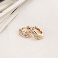 Wholesale Gift for Women Lady K Gold Plated Wave Leaf Ear Drop Hoop Earring Fashion Jewelry Pair Clear Crystal Zircon Earings H14016