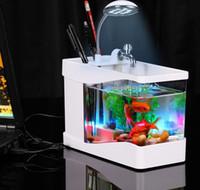 aquarium tank light - Black White USB Desktop Fish Tank Aquarium with LED Light Fish Tank Aquarium for Home Decoration