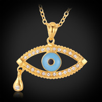 Wholesale Angel Tear Drop Evil Eyes Charms K Real Gold Plated Rhinestone Lucky Jewelry Pendant Necklace