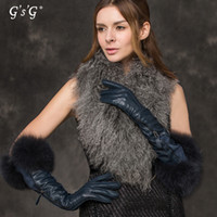 Wholesale blue long Leather gloves with fox fur lambskin luvas for party girl friends gift schafspelz handschuhe w14468