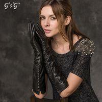 Wholesale GSG black eather gloves fashion designer mittens cashmere sheepskin touch screen guanti di pelle SCHAFSPELZ hanskar W12157
