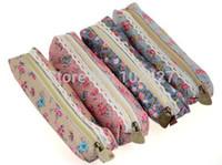 Cheap Wholesale-1PC NEW Retro Canvas Pencil Pen Case Flower Print Coin Wallet Storage Purse Zipper Pouch Pencil Bag