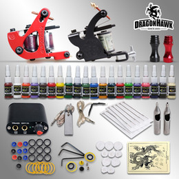 Wholesale Beginner tattoo starter kits guns machines ink sets power supply disposable needle pedal tips D1015NS