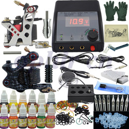 Wholesale OPHIR NEW set PRO Machine Gun Permanent Tattoo Kits Power Supply Color Tattoo Ink Needles TA004