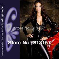 Women Club Clothing Skinny Shiny Bodysuits Leather Black Jumpsuit