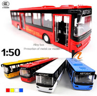 antique pull toys - Conditioned Buses Car Metal Model Open Door Pull Back Acousto optic Toys Car Classic Alloy Antique Car Model