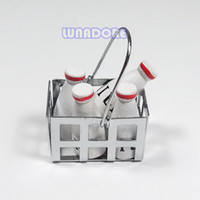 Wholesale Wooden Fixed Milk Bottle In Silver Metal Basket Drinking Kitchen Miniature For Re ment Orcara