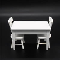 wood furniture kitchen - Miniature Wood White Desk Chairs Kitchen Furniture Dollhouse Fit Orcara Toys Doll Accessories Wood Dollhouse Furniture Sets