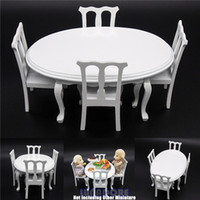 wood furniture kitchen - Miniature White Wooden Dining Table Chair Kitchen Furniture Dollhouse Gift Toys Doll Accessories Wood Dollhouse Furniture