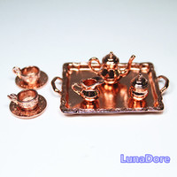 Wholesale Copper Tableware Tea Coffee Set Metal Miniature Doll House Accessories