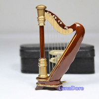 bateria musical - Mini Musical Harp Wooden With Black Case Miniature Musical Instrument DollHouse Figure Instrumento Musical Bateria Infantil