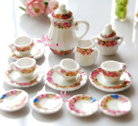 Gros-LOT DE 15PCS FLOWER RING Dollhouse Miniature porcelaine Chine Thé Couvercle Pot Coupes DC62