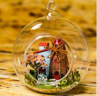 Wholesale New Arrive Diy Doll House Mini Glass Ball Model Building Kits Handmade Wooden Dollhouse Toy Christmas Gift