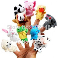 Wholesale B Novelty Item Cartoon Finger Animal Puppet Plush Fingers Baby Dolls Cartoon Toys Children