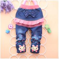 Wholesale new Children s jeans cotton cute rabbit denim girl jeans children clothing