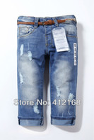 Wholesale Retail brand new fashion children s high waist acid wash girls denim pants jeans hole blueFreeshipping trousers