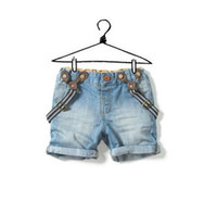 Wholesale newest children boys and girls in jeans shorts and suspenders jeans overalls children suspender trousers men jeans
