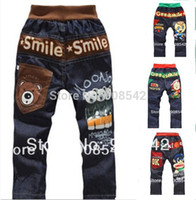 jeans wholesale price - lowest price children jeans print bear letter baby trousers girls boy kids jeans cartoon jeans style