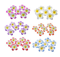 achat en gros de décorations en mousse hawaïennes-Gros-50Pcs Plumeria Hawaïen Mousse à la fleur de Frangipanier, Fleur Artificielle en Soie Faux OEUF Fleur Pour la Fête de Mariage de la Décoration 4Z272