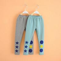 Wholesale New Kid Child Winter Warm Leggings Girl s Fleece Trousers Underwear Pants AB Star amp Circle Pattern Legging