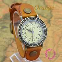 Wholesale Coupon for buyer price good quality bronze colors punk genuine antique retro leather bracelet lady wrist watch hour
