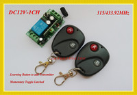 Wholesale DC12V Radio Remote Control Switch System Receiver Transmitter Garage Door Opener Lock Access System Momentary Toggle Latched