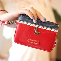 Cheap Wholesale-Color matching Coin purse Handbag women Wallets Key pouch Storage bag case organizer for stationary School supplies 6306