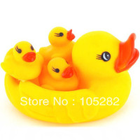 Cheap Wholesale-Wholesale retail(16pcs 4set lot)Birth Xmas gift new Mummy&Baby Rubber Race Cute Ducks Family Squeaky Bath Toys For Kids