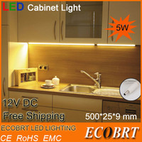 Cheap Wholesale-new indoor lighting bulbs 50cm long aluminum 12v 5w led linear cabinet strip light for kitchen under bar lights dimmale ce rohs