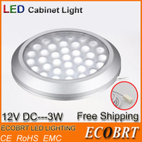 Cheap Wholesale-2pcs lot 12v 3w Led Bulbs for Kitchen Under Cabinet Spot Lights Surface Mounted Aluminum Round Small Downlights Free Shipping