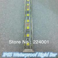 Gros-6pcs un lot 36 SMD5050 0,5M IP65 époxy étanche LED bande rigide blanc Light Bar avec coque en aluminium + connecteurs mâles et femelles