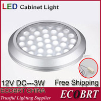 Cheap Wholesale-Round Surface Flat 12v 3w Led Spotlight Aluminum Housing As Kitchen showcase Under Cabinet Light Lamps 6pcs lot Free Shipping