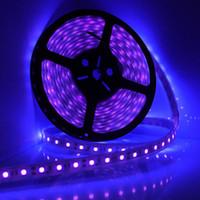 al por mayor 12v luz negra-Impermeable Ultravioleta púrpura luz de tira Negro 5050 DC 12V Noche Barco de Pesca UV Lámpara Flexible Blacklight mayor-5M 16 pies LED