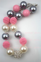 bubble gum necklace - 2pcs Silver Beads chunky Necklace Girls Chunky Bubble Gum Bead Children NecklaceCB493
