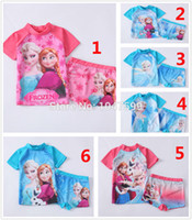 Wholesale Frozen Girl Girls SUV sun protection anti uv swimwear bather t shirt short sets RT09