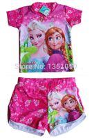 Wholesale retail Frozen Child Sets Beachwear Kids Swimwear Girls Swimsuit Children Swimwear Kid Bathing Suits Tee Shirt Swim Trunks set
