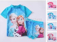 Wholesale Frozen girls SUV sun protection anti uv swimwear swimmer bather swimsuit summer t shirt top shorts set sets