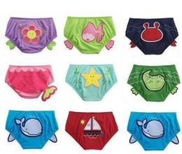 Wholesale baby boys girls cartoon swimwear swimming shorts styles kids swim critter diaper covers swimming pants