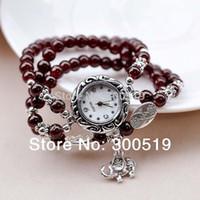 Wholesale JW182 Three Circle Imitation Agate Bracelet Watch Woman Watches Silver Plating Elephant Pendant Lady Wrist Watch