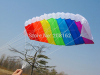 Wholesale Rainbow Kite Dual Line Control Paragliding Shape Kites with Two Handle For Beginner Outdoor Sports mix order usd