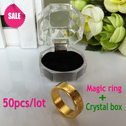 Wholesale-Free shipping factory wholesale 50pcs lot gold color neodymium strong magnet ring magnetic PK ring magic ring at crystal box