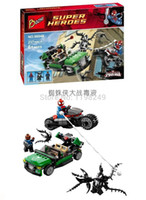 Wholesale Baby Toys super hero Minifigures Spiderman motorcycle car spiderman Vs venom Nick Fury Avengers diy Buliding block