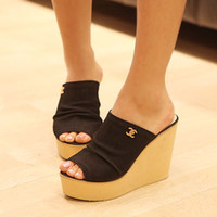 Wholesale sexy stripper shoes high heeled shoes fashion shoes slippers High Heel Mid Platform Slip on Mules Size