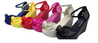 Cheap Wholesale-2015 lady nice bowtie fashion melissa Jelly Shoes sandal wedge pumps comfortable free shipping