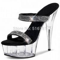 stripper shoes - Women Inch Stripper Shoes High Heeled Shoes Noble Elegant Platform Gladiator Rhinestone All Match Formal Dress Sandals