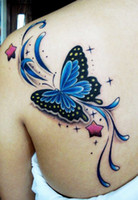 big butterfly tattoos - 3D Temporary Tattoo Stickers Blue Butterfly Big Large Waterproof Back Tattoos Body Art