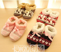 Wholesale women pink snow floral deer knitted jacquard slippers home indoor shoes rubber female cotton padded slipper
