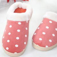 Wholesale winter men amp women slippers new arrival lover unisex dot warm cotton padded indoor slipper shoes XJ026
